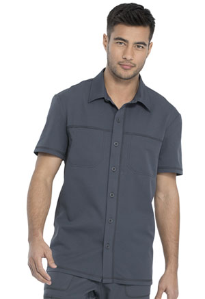 Dickies Dynamix Men's Button Front Collar Shirt in Pewter (DK820-PWT)
