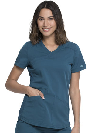 Dickies Balance Mock Wrap Top in Caribbean Blue (DK840-CAR)