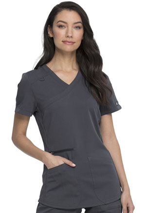Dickies Balance Mock Wrap Top in Pewter (DK840-PWT)