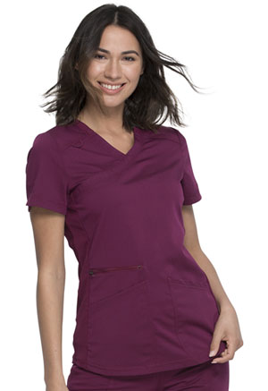Dickies Balance Mock Wrap Top in Wine (DK840-WIN)