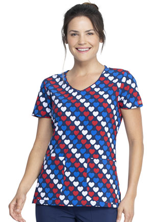Dickies Prints V-Neck Print Top in Americana Hearts (DK852-AMRH)