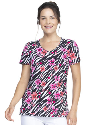 Dickies Prints V-Neck Top in Stripes And Posies (DK852-STPI)