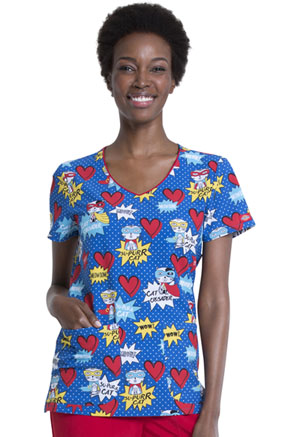 Dickies Prints V-Neck Print Top in Su-purr Cat (DK852-SUPC)
