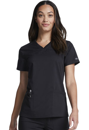 Dickies Balance V-Neck Top With Rib Knit Panels in Black (DK870-BLK)