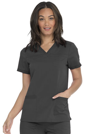 Dickies Balance V-Neck Top With Rib Knit Panels in Pewter (DK870-PWT)