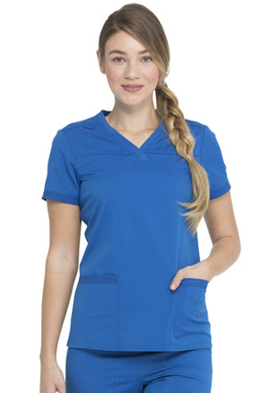 Dickies Balance V-Neck Top With Rib Knit Panels in Royal (DK870-ROY)