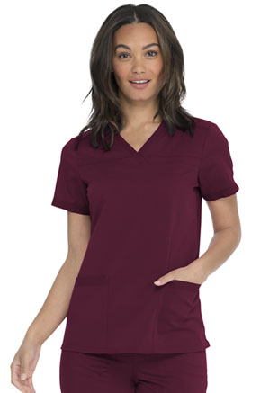 Dickies Balance V-Neck Top With Rib Knit Panels in Wine (DK870-WIN)