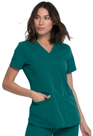 Dickies Balance V-Neck Top in Hunter Green (DK875-HUN)