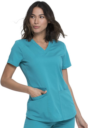 Dickies Balance V-Neck Top in Teal Blue (DK875-TLB)