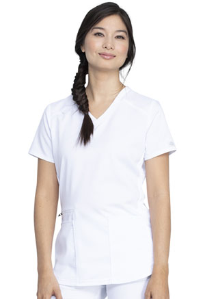 Dickies Balance V-Neck Top in White (DK875-WHT)