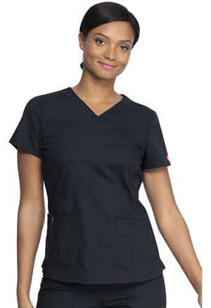Dickies EDS Signature V-Neck Top in Black (DK880-BLWZ)