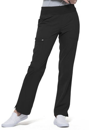 Simply Polished Mid Rise Straight Leg Pull-on Pant (EL130-BLK) (EL130-BLK)
