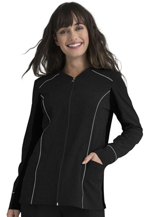 Elle Zip Front Jacket Black (EL325-BLK)