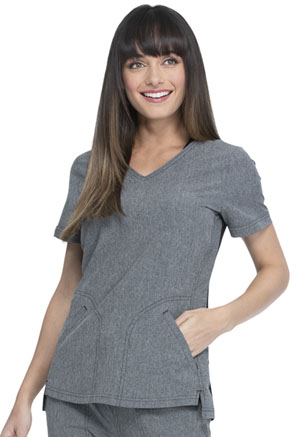 Simply Polished V-Neck Top (EL604-HGY) (EL604-HGY)
