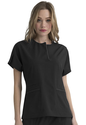Simply Polished Round Neck Top (EL613-BLK) (EL613-BLK)