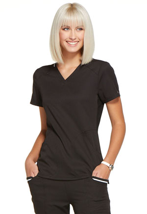 Simply Polished V-Neck Top (EL650-BLK) (EL650-BLK)