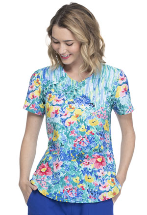 Elle V-Neck Top Hand Painted Posies (EL667-HANO)