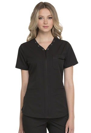 Simply Polished Eyelet V-Neck Top (EL690-BLK) (EL690-BLK)