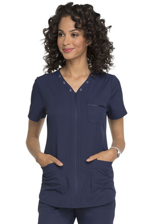 Elle Eyelet V-Neck Top Navy (EL690-NAV)