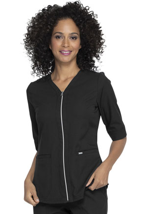 Simply Polished Zip Up Top (EL770-BLK) (EL770-BLK)