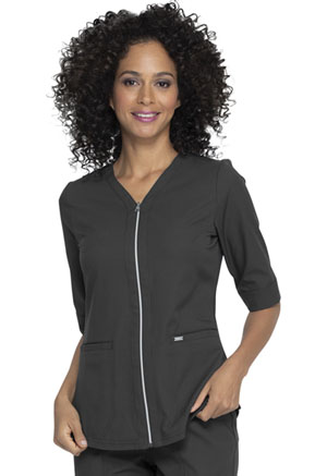 Simply Polished Zip Up Top (EL770-PWT) (EL770-PWT)