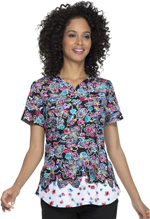 Elle Shaped V-Neck Top Decorative Daisies (EL830-DRVD)