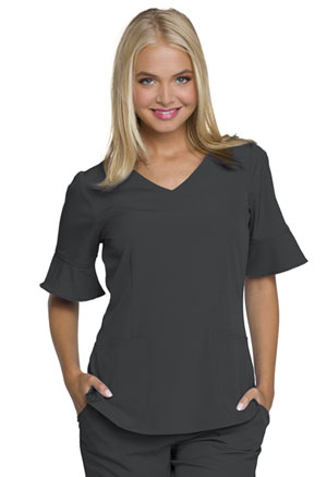 HeartSoul Mock Wrap Top Pewter (HS740-PEWH)