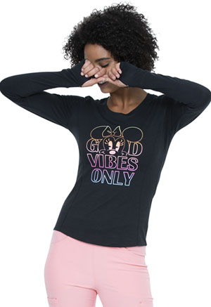 Heartsoul Long Sleeve Underscrub Knit Tee Good Vibes Minnie (HS801-MNGV)