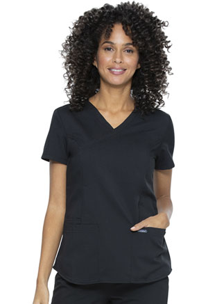Sanibel Mock Wrap Top Black (PL644-BKRS)