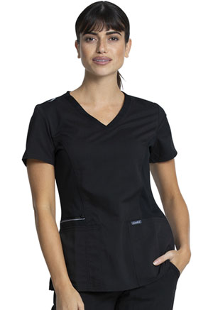 Sanibel V-Neck Top Black (PL670-BKRS)