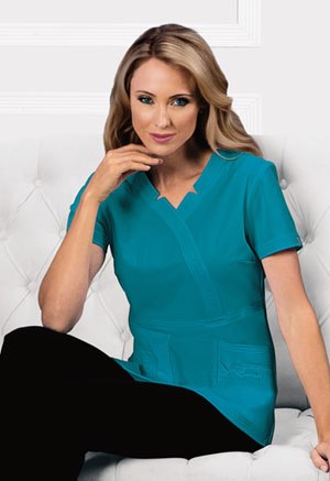 Sapphire Madison Mock Wrap Top Teal Blue (SA600A-TLB)