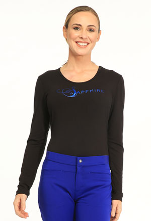 "Sapphire Sapphire Women's ""Chelsea"" Underscrub Knit Tee Black"