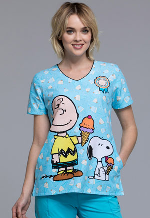 Tooniforms Cherokee Licensed Women's V-Neck Top Chill Charlie Brown