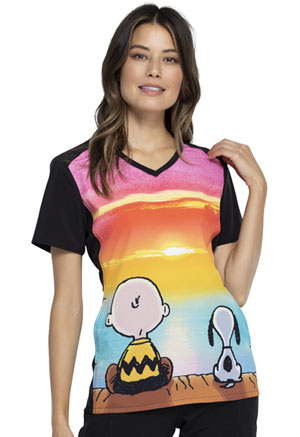 Tooniforms V-Neck Top Sunset Charlie Brown (TF637-PNTC)