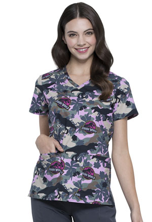 Tooniforms V-Neck Top Jurassic Camo (TF638-JWCM)