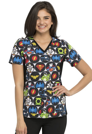 Tooniforms V-Neck Knit Panel Top DC Comics (TF648-DMOM)