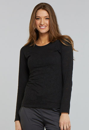 Tooniforms Long Sleeve Underscrub Knit Tee Mickey Hands Black (TF662-MKDB)