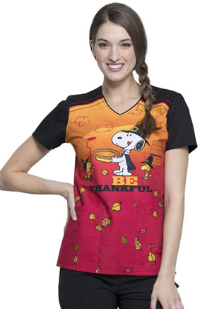 Tooniforms V-Neck Top Snoopy Thanksgiving (TF686-PNGV)