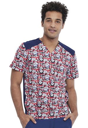 Tooniforms Men's V-Neck Top Star Shield (TF713-MADF)