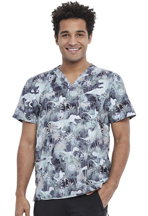 Tooniforms Men's V-Neck Top Jurassic Dino Stomp (TF740-JWOM)