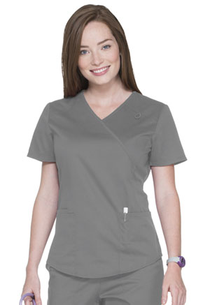 ScrubStar Canada Mock Wrap Top Condor Grey (WA807-CGW)