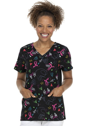 ScrubStar Women's Flex Printed Top All About the Cure (WC703X5-AATC)