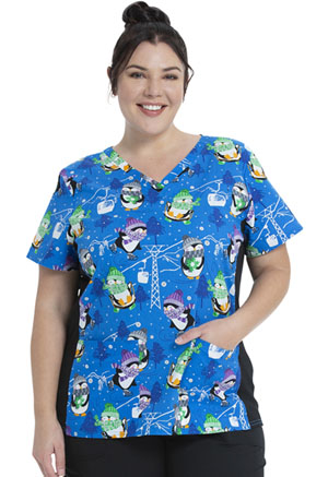 ScrubStar Canada Women's Flex Printed Top Snow Flurry Fun (WC703X5-SFFU)