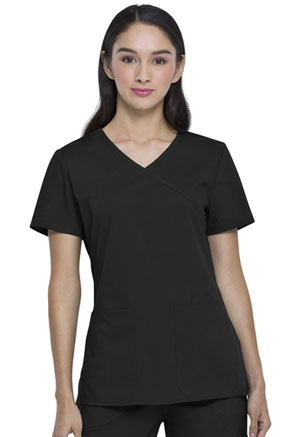 ScrubStar Canada Women's Mock-wrap Top Black (WC822-BLK)