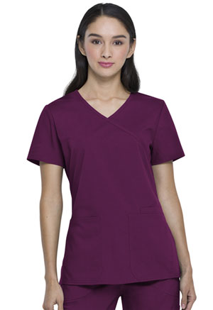 ScrubStar Canada Women's Mock-wrap Top Wine (WC822-WIN)