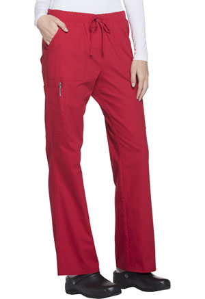 ScrubStar Women's Brushed Poplin Drawstring Pant Classic Red (WD007-CRED)