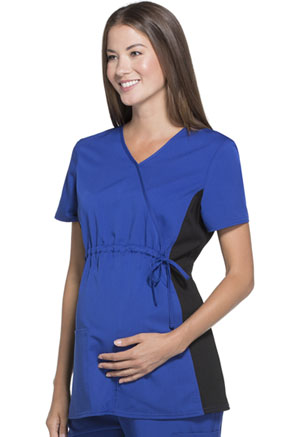 ScrubStar Maternity Flexible Mock-Wrap Top Electric Blue (WD800-LRWM)
