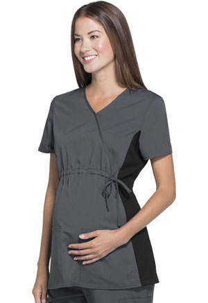 ScrubStar Maternity Flexible Mock-Wrap Top Pewter (WD800-RWWM)