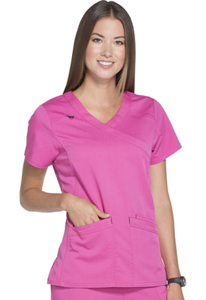 ScrubStar Women's Stretch Twill Mock Wrap Top Shocking Pink (WD802-SHP)