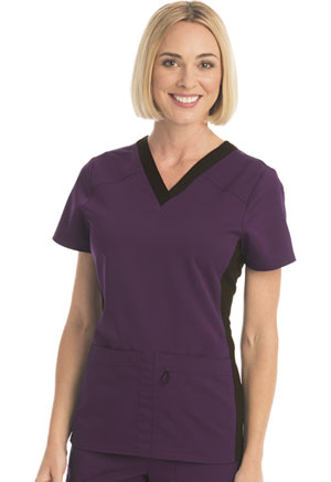 ScrubStar Women's Premium Flex Stretch V-neck Top Eggplant (WD803-EGG)